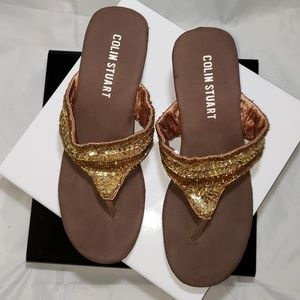 Colin stuart sz 6 wedge sandals bead embellished